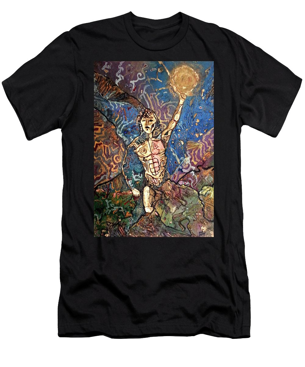 Cosmogony Men's T-Shirt (Athletic Fit) featuring the painting Aztec Cosmogony by Bob Money