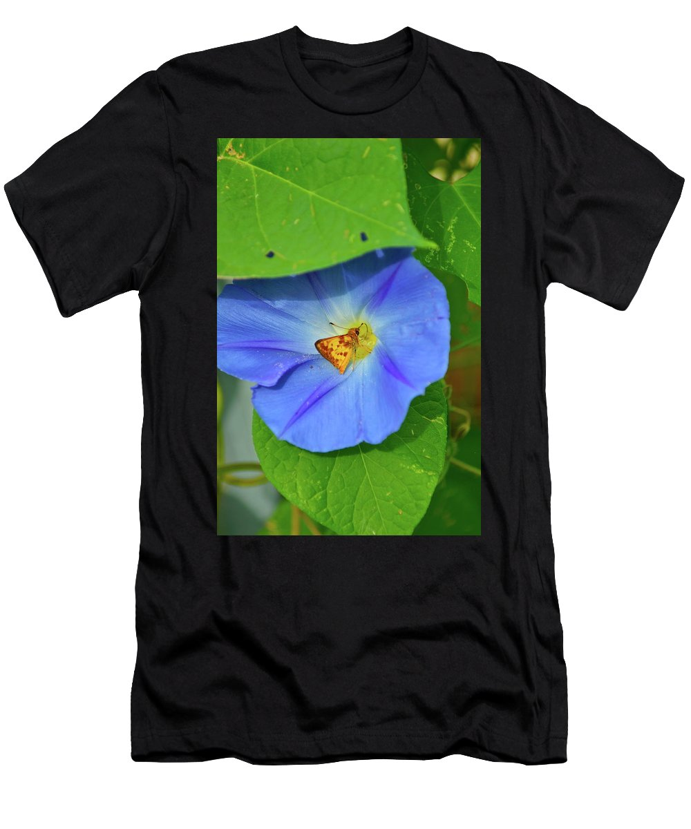 Flower Men's T-Shirt (Athletic Fit) featuring the photograph Azure Morning Glory by Henri Irizarri