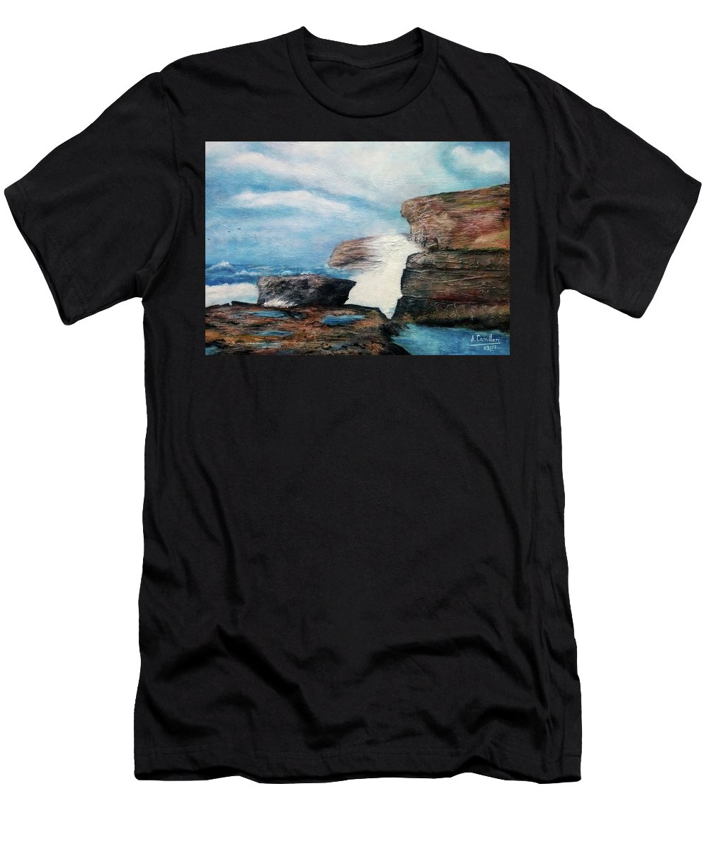 Men's T-Shirt (Athletic Fit) featuring the painting Azure Window - After by Anthony Camilleri