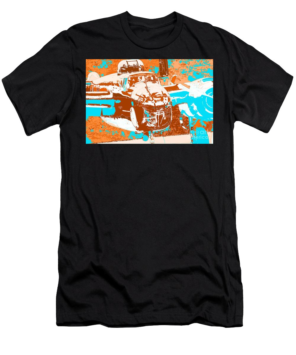 B-25 Blue Brown Men's T-Shirt (Athletic Fit) featuring the digital art B-25 Blue Brown by Chris Taggart