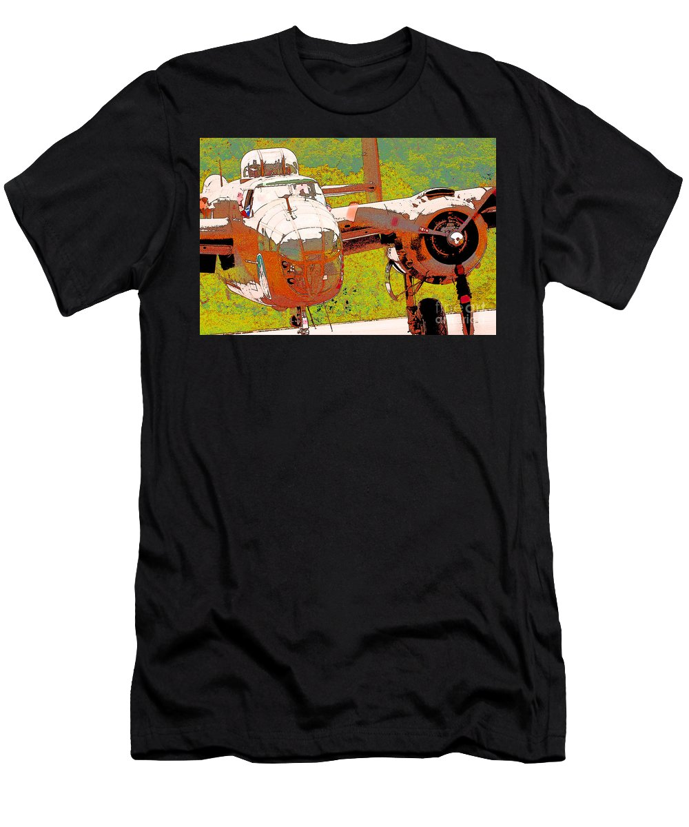 B-25 Red B Men's T-Shirt (Athletic Fit) featuring the digital art B-25 Red B by Chris Taggart