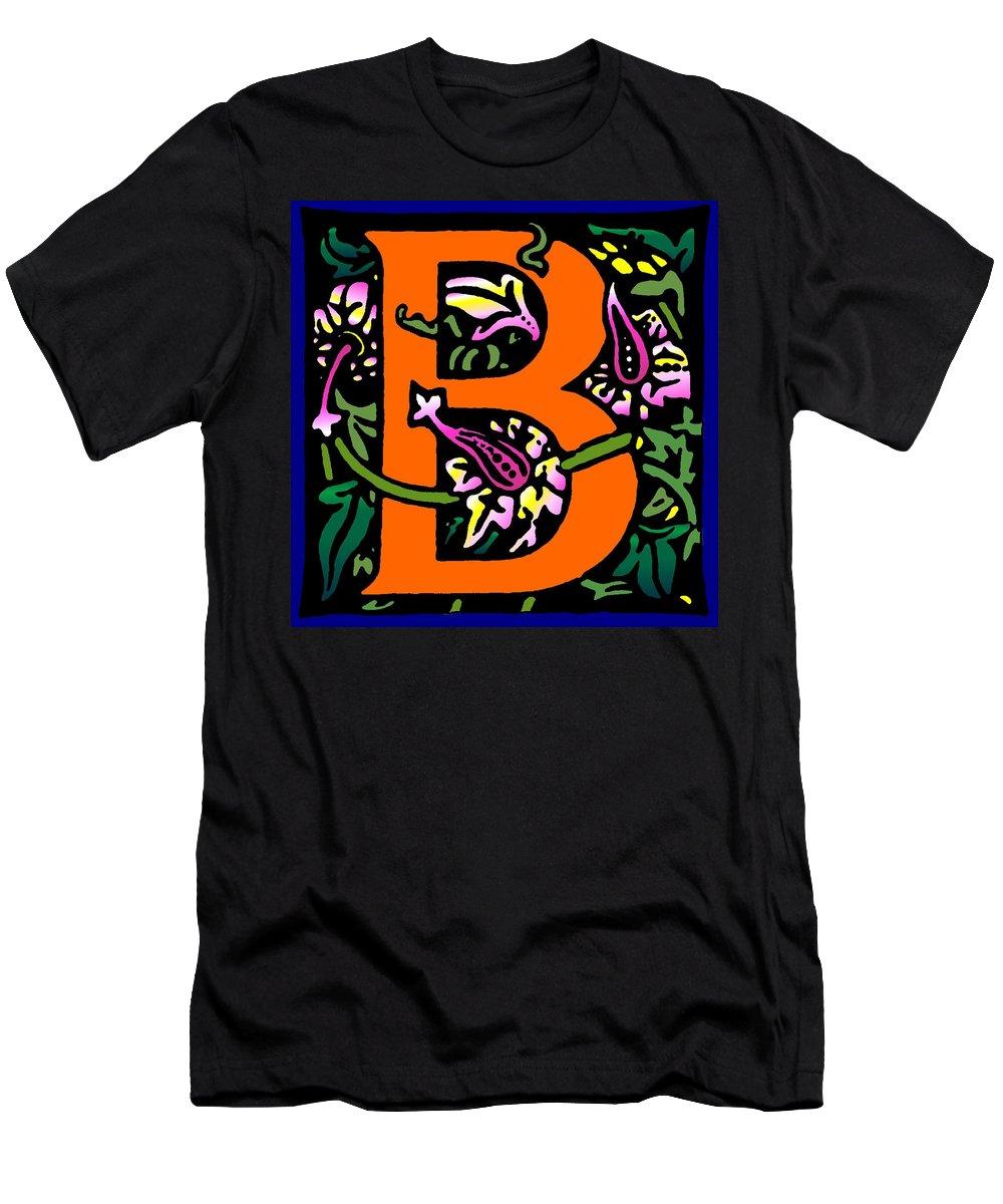 Alphabet Men's T-Shirt (Athletic Fit) featuring the digital art B In Orange by Kathleen Sepulveda