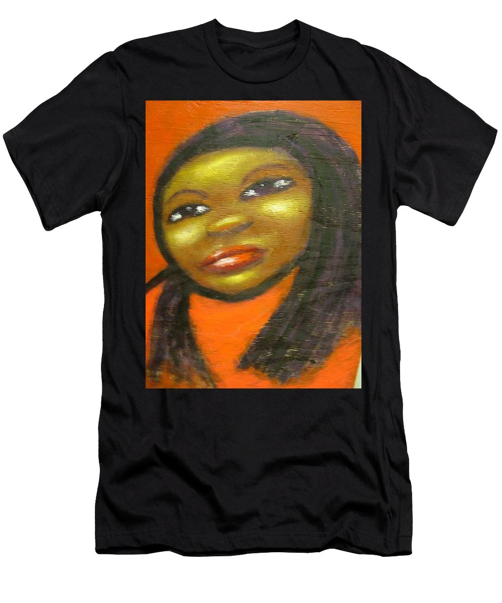 Lady In A Red Dress Men's T-Shirt (Athletic Fit) featuring the painting B by Jan Gilmore