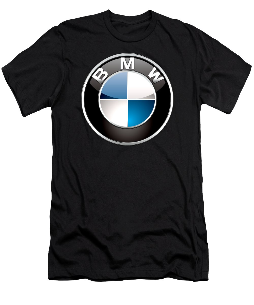 �wheels Of Fortune� Collection By Serge Averbukh T-Shirt featuring the photograph B M W 3 D Badge on Black by Serge Averbukh