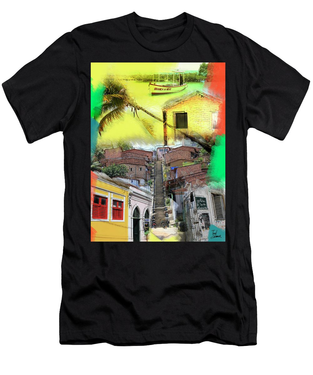 Recife Men's T-Shirt (Athletic Fit) featuring the mixed media Recife Colors by Tael Zimmer