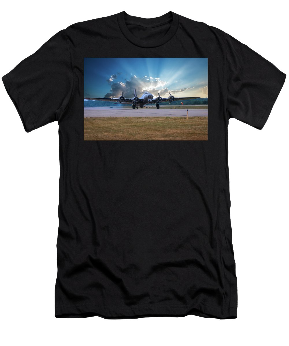 Flying Fortress Men's T-Shirt (Athletic Fit) featuring the photograph B17 Landing by Thomas Woolworth