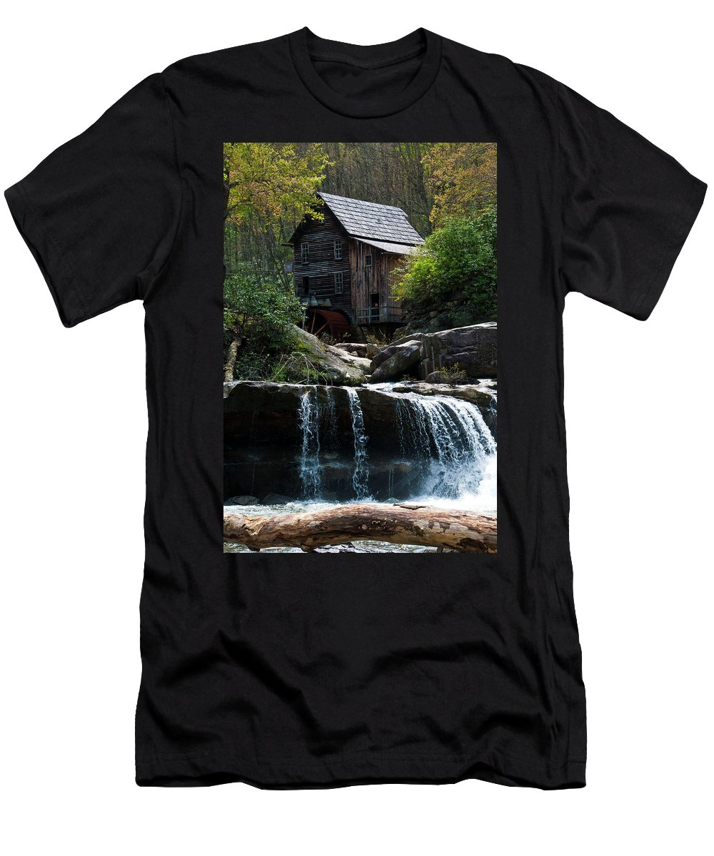 Babcock Grist Mill Men's T-Shirt (Athletic Fit) featuring the photograph Babcock Grist Mill by Ginnie Lerch