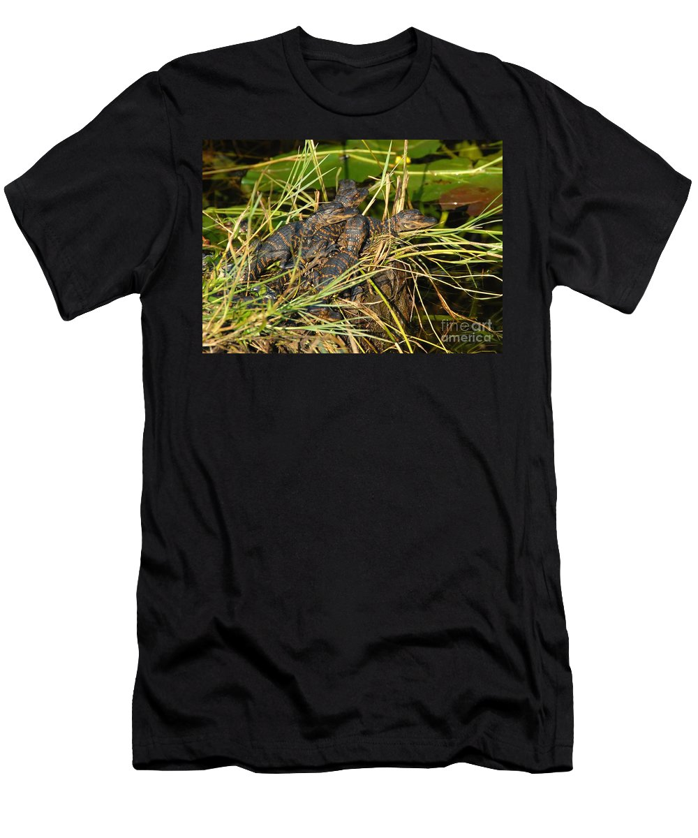 Alligators Men's T-Shirt (Athletic Fit) featuring the photograph Baby Alligators by David Lee Thompson