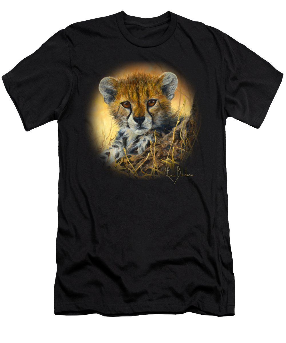 Cheetah Men's T-Shirt (Athletic Fit) featuring the painting Baby Cheetah by Lucie Bilodeau