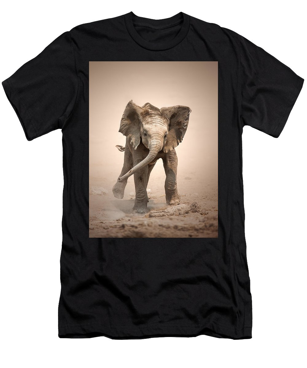Elephant Men's T-Shirt (Athletic Fit) featuring the photograph Baby Elephant Mock Charging by Johan Swanepoel
