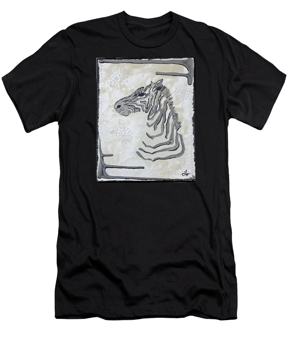 Zebra Men's T-Shirt (Athletic Fit) featuring the painting Baby Z by Laressa Herrell