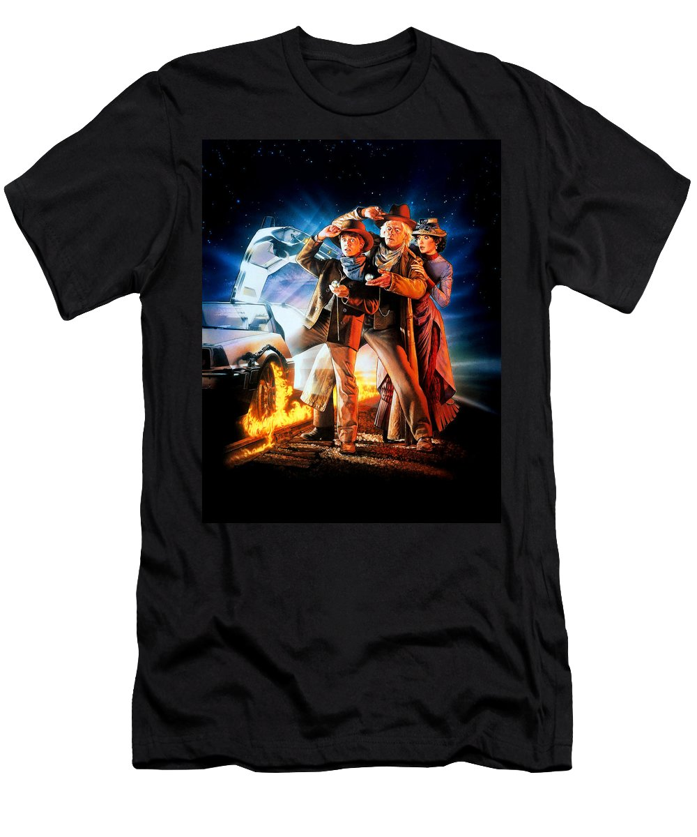 Back To The Future Part Iii 1990 Men's T-Shirt (Athletic Fit) featuring the digital art Back To The Future Part IIi 1990 by Geek N Rock