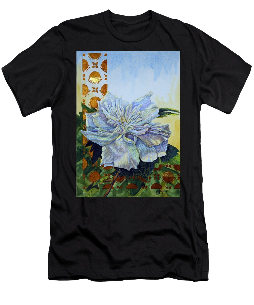 Mixed Media Men's T-Shirt (Athletic Fit) featuring the mixed media Backyard Splendor by Suzanne McKee