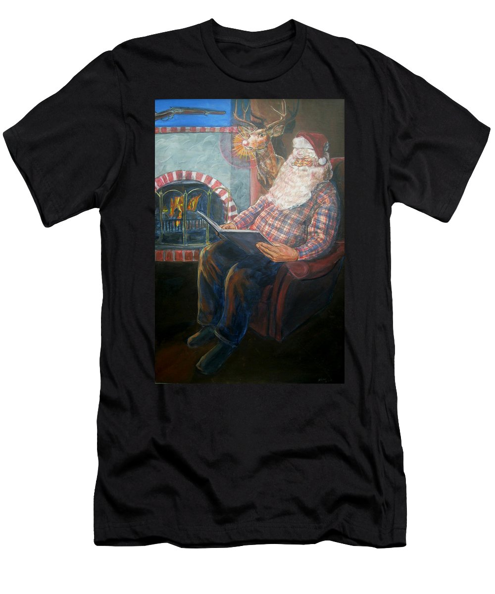Christmas Men's T-Shirt (Athletic Fit) featuring the painting Bad Rudolph by Bryan Bustard