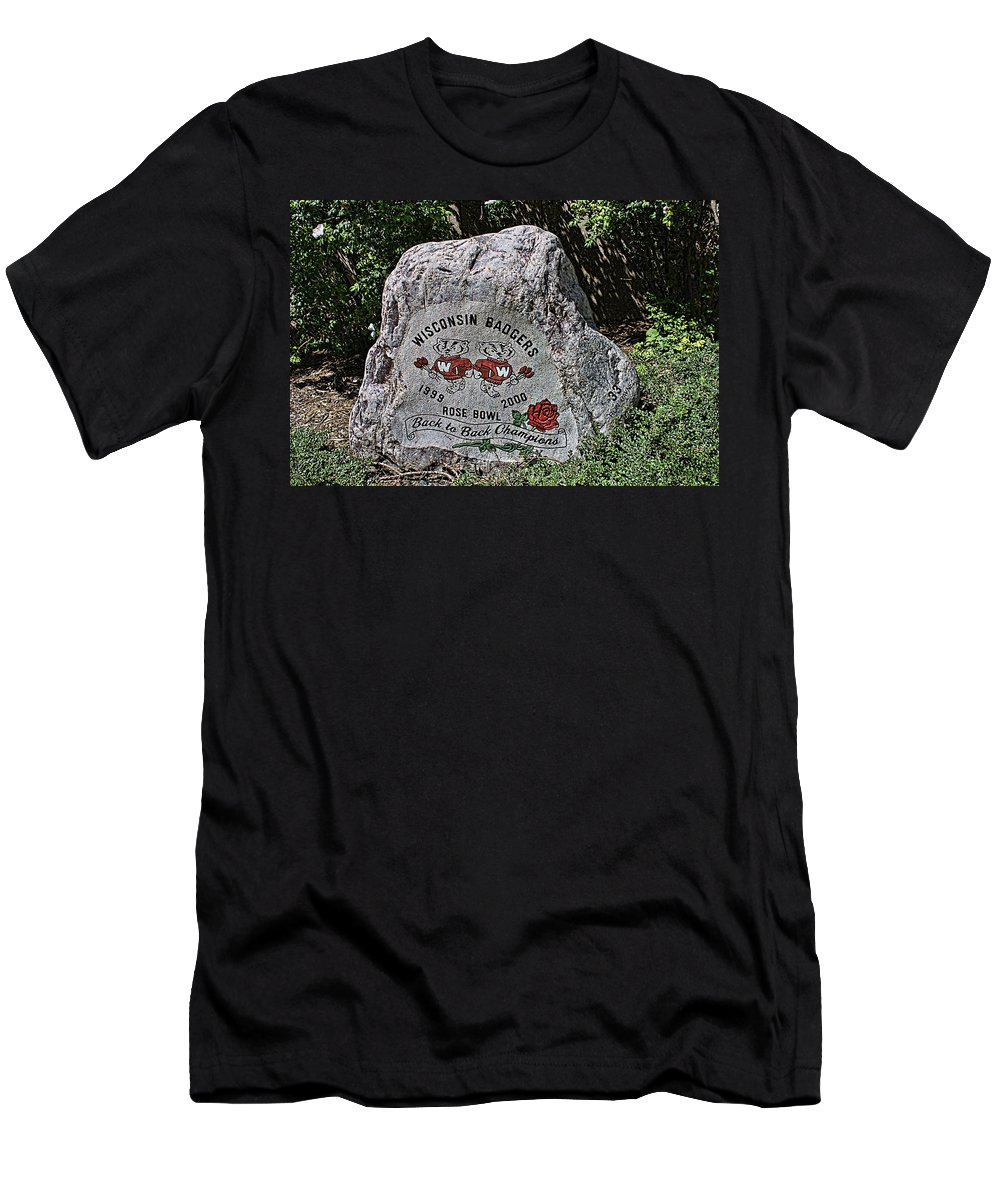 Camp Randall Men's T-Shirt (Athletic Fit) featuring the photograph Badgers Rose Bowl Win 2000 by Tommy Anderson