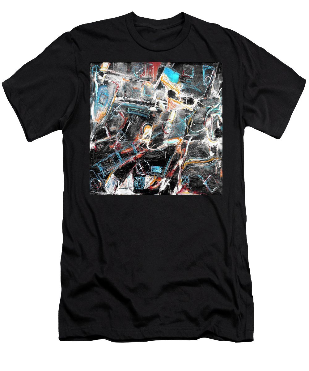 Abstraction Men's T-Shirt (Athletic Fit) featuring the painting Badlands 2 by Dominic Piperata