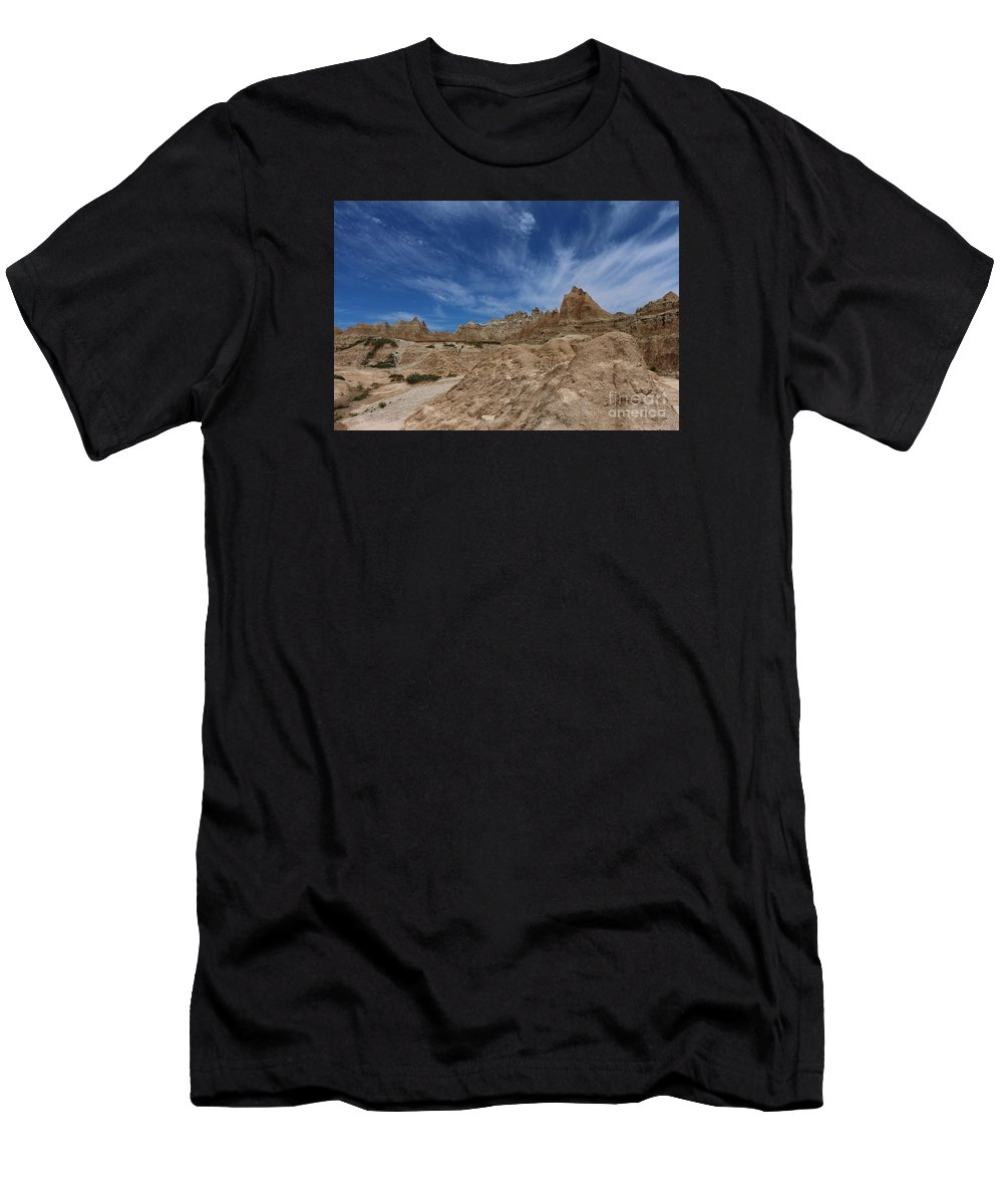 Badlands Men's T-Shirt (Athletic Fit) featuring the photograph Badlands View From A Trail by Christiane Schulze Art And Photography