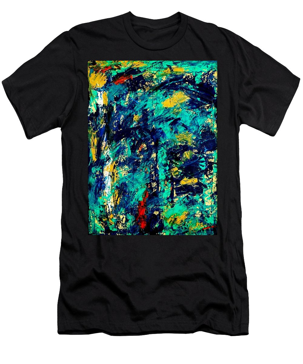 Oil Painting Men's T-Shirt (Athletic Fit) featuring the painting Baffled by Fareeha Khawaja