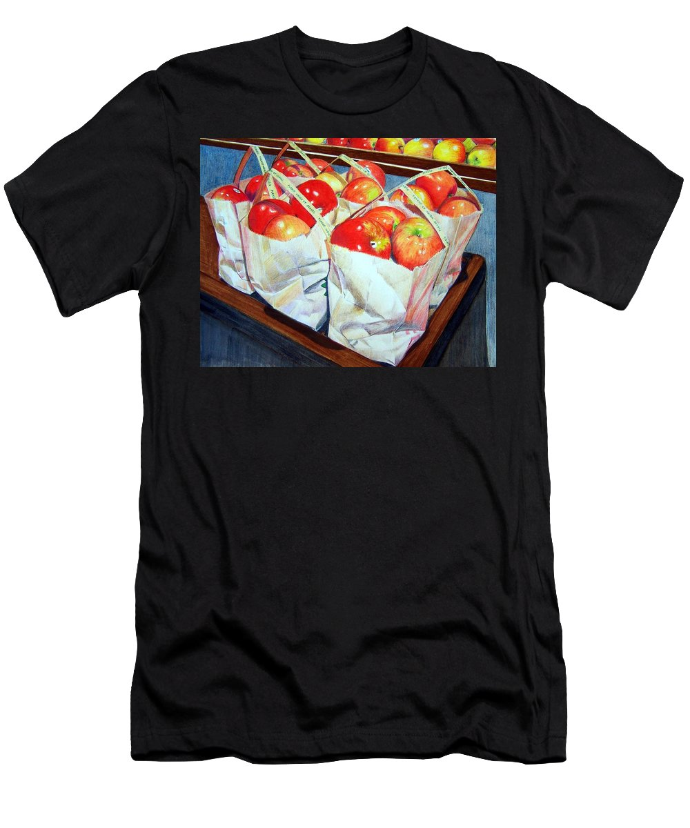 Apples Men's T-Shirt (Athletic Fit) featuring the mixed media Bags Of Apples by Constance Drescher