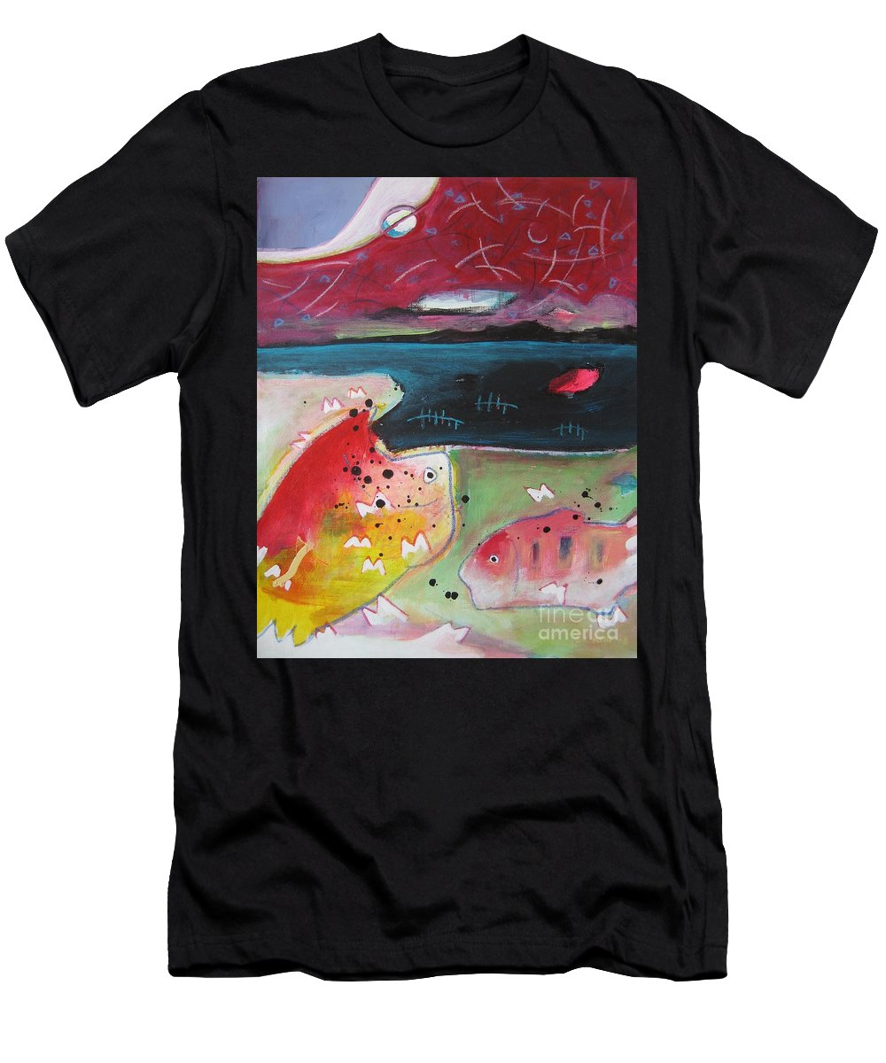 Acrylic Paintings Men's T-Shirt (Athletic Fit) featuring the painting Baieverte by Seon-Jeong Kim