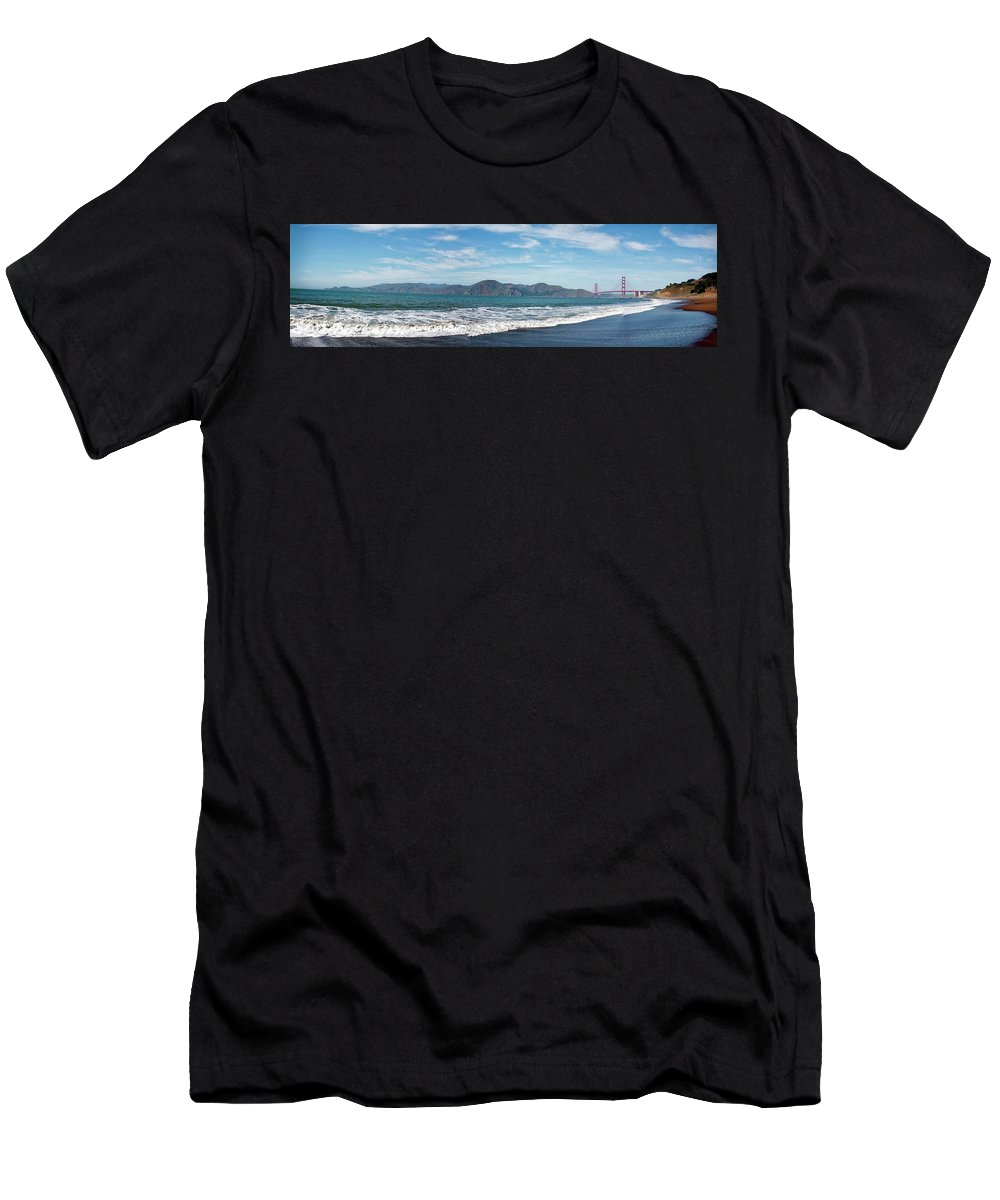 San Francisco Men's T-Shirt (Athletic Fit) featuring the photograph Baker Beach Panorama by Noel Baebler
