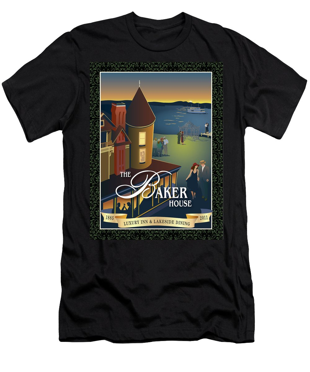 Baker House 1885 Men's T-Shirt (Athletic Fit) featuring the painting Baker House Endless Sunset by Leslie Alfred McGrath