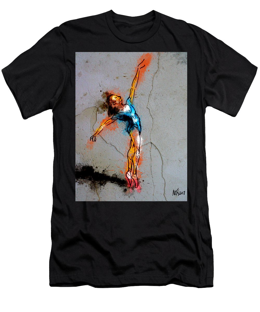 Dancer Men's T-Shirt (Athletic Fit) featuring the mixed media Balance by Michael Kallstrom