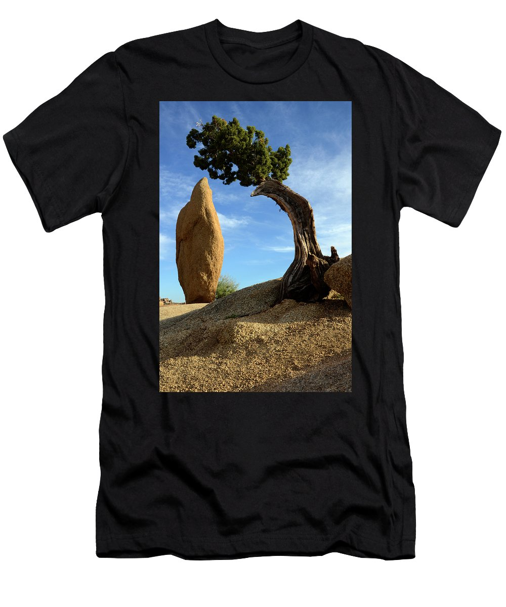 Joshua Tree National Park Men's T-Shirt (Athletic Fit) featuring the photograph Balancing Act 2 by Bob Christopher