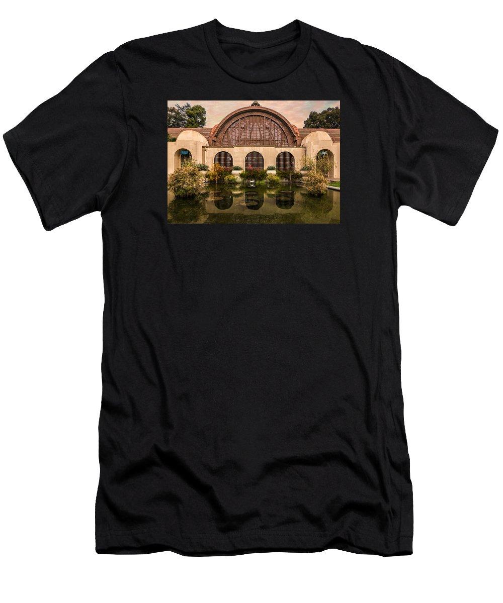 Building Men's T-Shirt (Athletic Fit) featuring the photograph Balboa Park Botanical Building Symmetry by Patti Deters