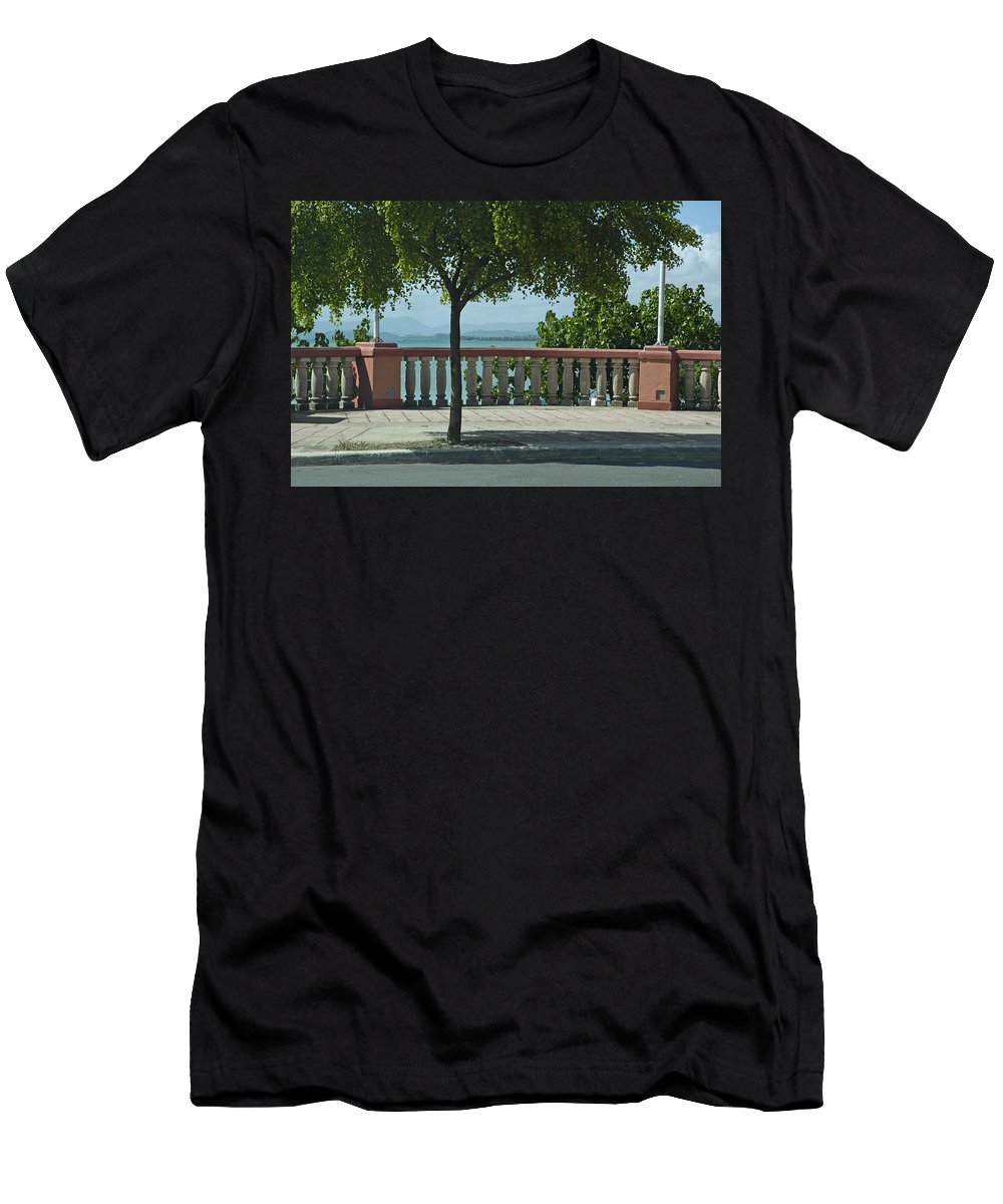 Landscape Men's T-Shirt (Athletic Fit) featuring the photograph Balcony On The Beach In Naguabo Puerto Rico by Tito Santiago