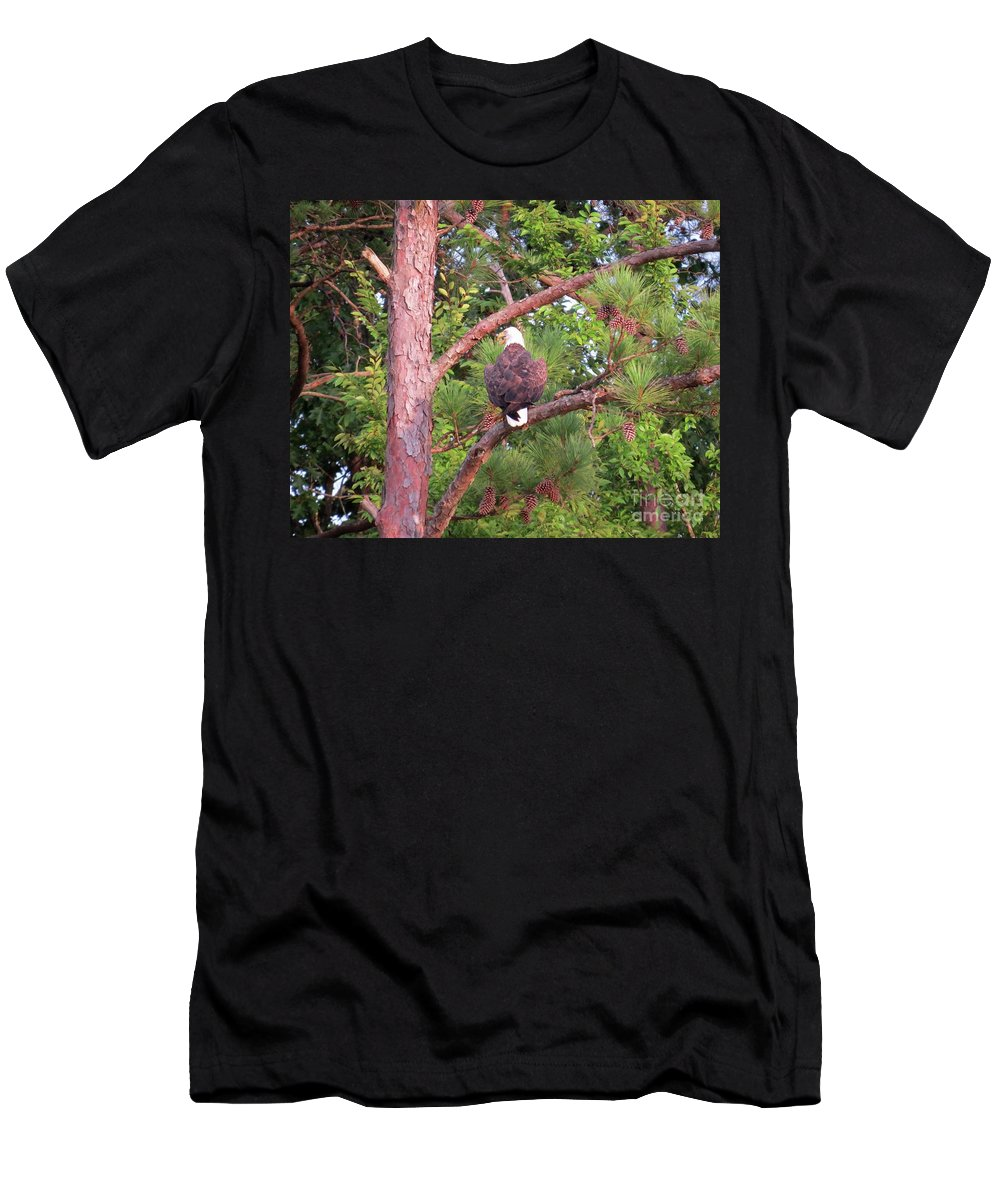 Bald Eagle Men's T-Shirt (Athletic Fit) featuring the photograph Bald Eagle Fresh Catch by Charles Green