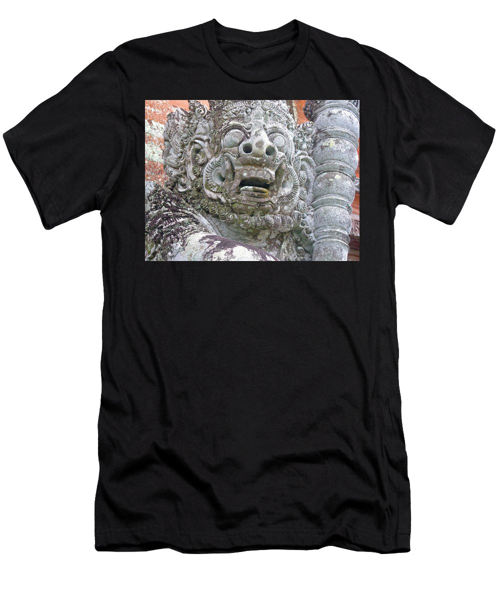 Bali Men's T-Shirt (Athletic Fit) featuring the digital art Balinese Temple Guardian by Mark Sellers