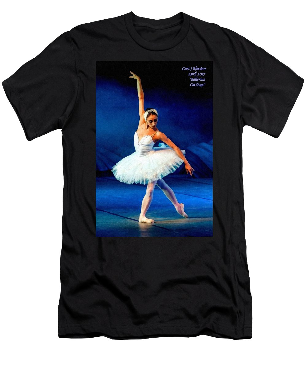 Ballet Men's T-Shirt (Athletic Fit) featuring the painting Ballerina On Stage L A Nv by Gert J Rheeders