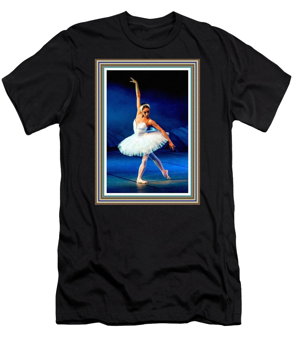 Ballet Men's T-Shirt (Athletic Fit) featuring the painting Ballerina On Stage L B With Alt. Decorative Ornate Printed Frame. by Gert J Rheeders