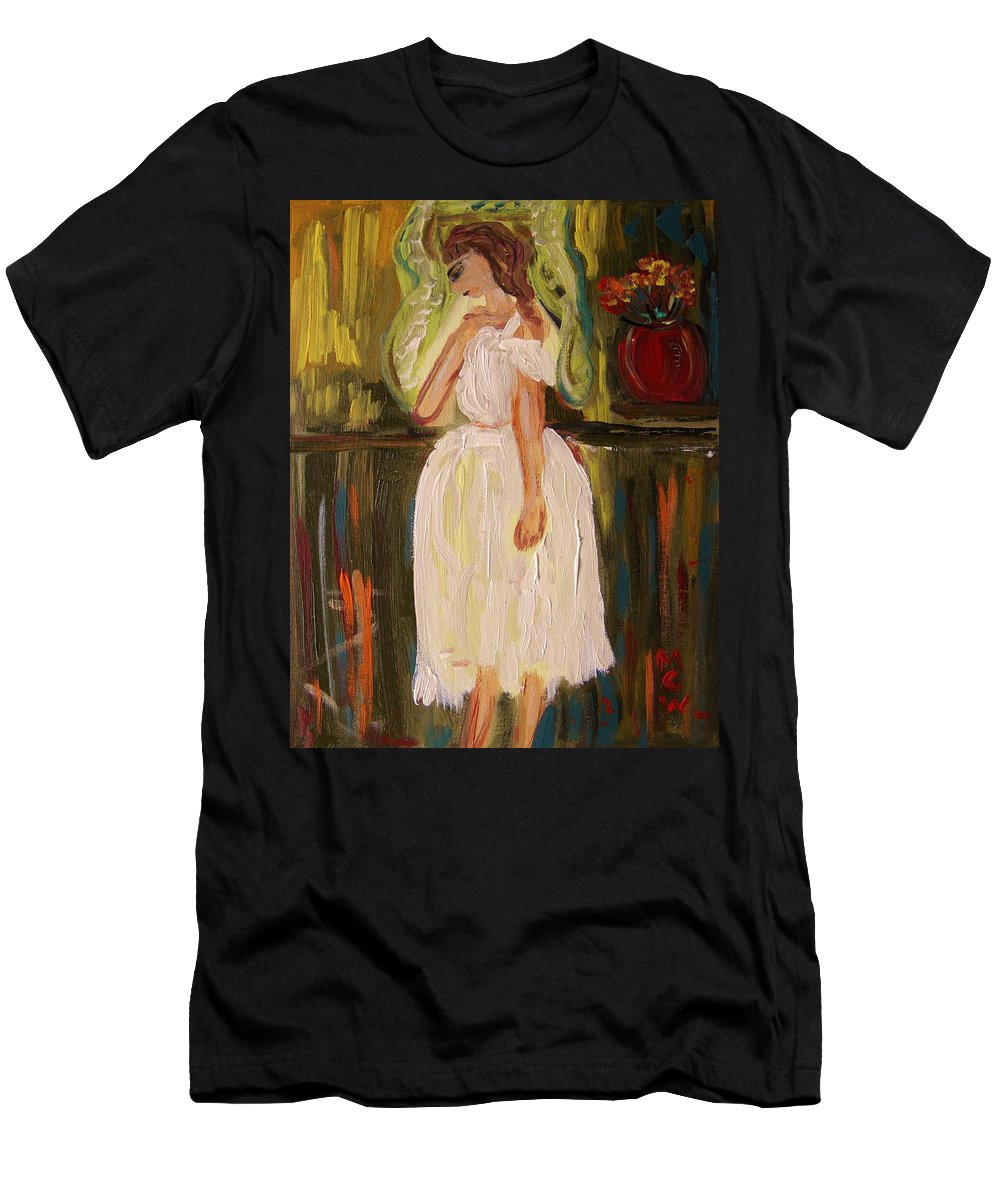 Acrylic Men's T-Shirt (Athletic Fit) featuring the painting Ballerina Preparation by Mary Carol Williams
