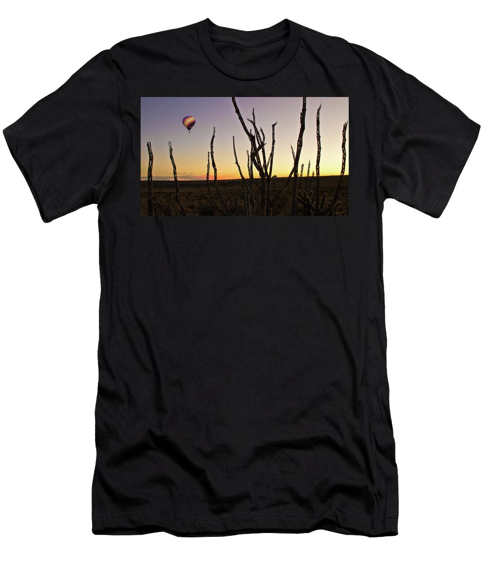 Sunset Men's T-Shirt (Athletic Fit) featuring the photograph Ballooning At Sunset by Keith Peacock