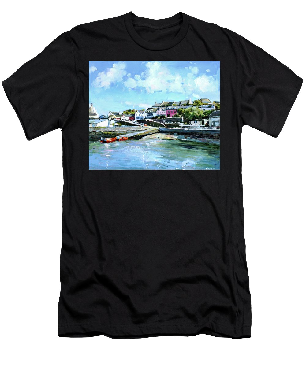 Baltimore Men's T-Shirt (Athletic Fit) featuring the painting Baltimore Harbour County Cork by Conor McGuire