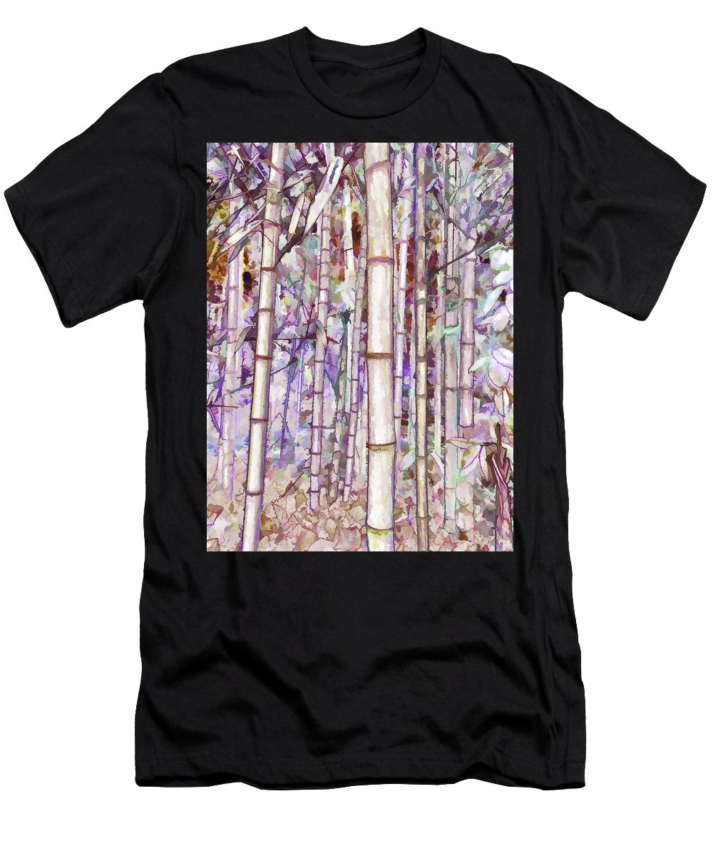 Bamboo Tree Men's T-Shirt (Athletic Fit) featuring the painting Bamboo Texture by Jeelan Clark