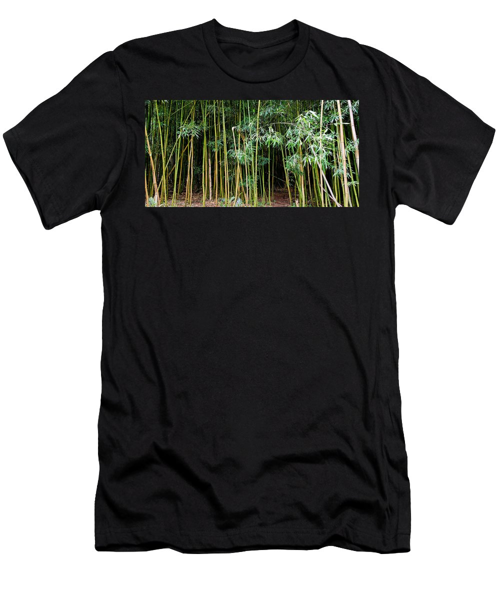 Bamboo Wind Chimes Men's T-Shirt (Athletic Fit) featuring the photograph Bamboo Wind Chimes Waimoku Falls Trail Hana Maui Hawaii by Michael Bessler