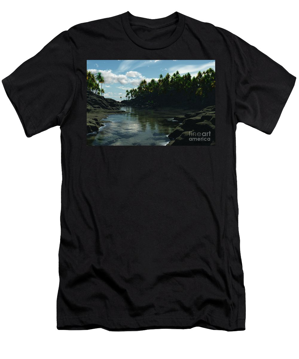 Rivers Men's T-Shirt (Athletic Fit) featuring the digital art Banana River by Richard Rizzo