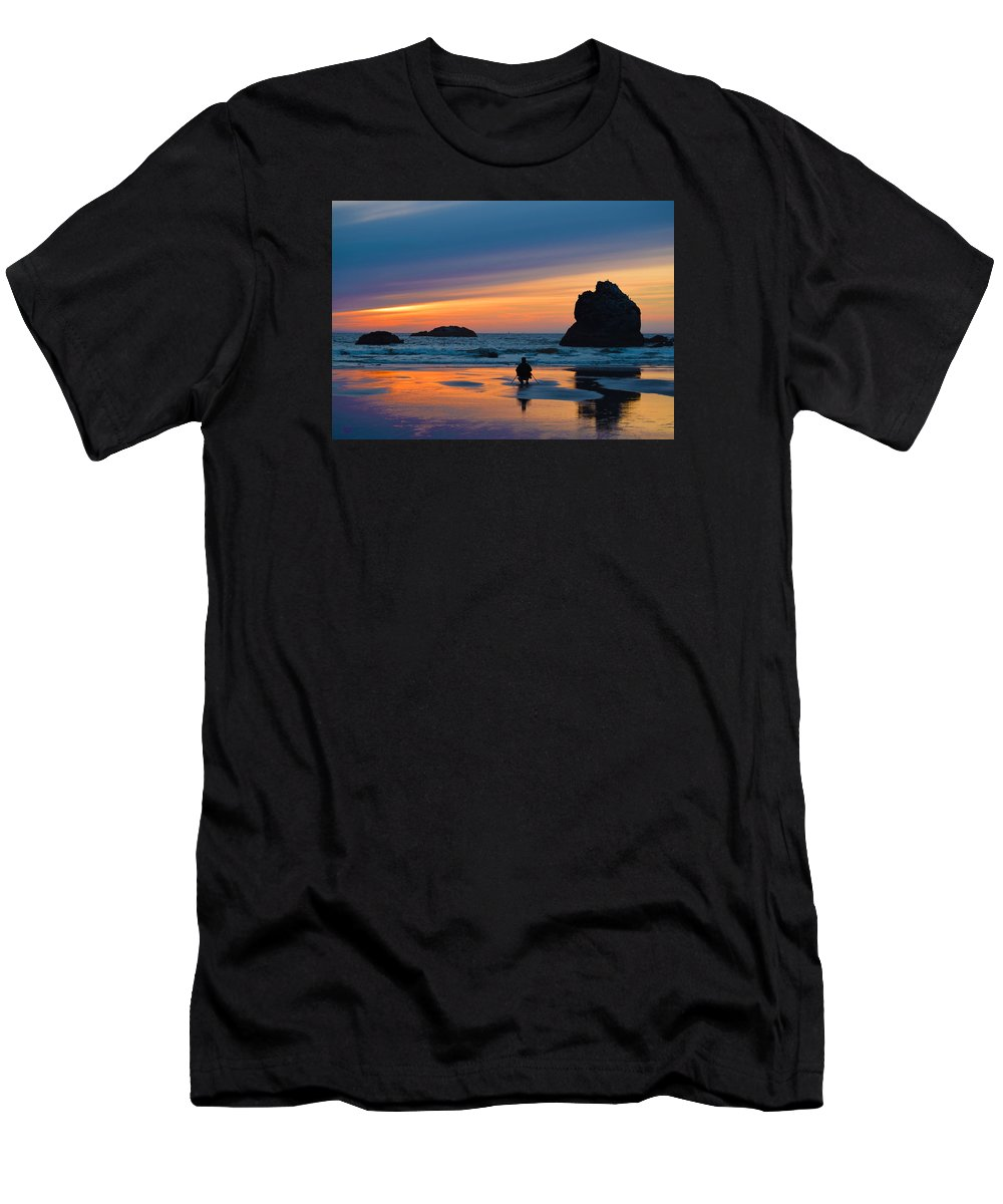 Bandon Men's T-Shirt (Athletic Fit) featuring the photograph Bandon Sunset Photographer by Michele Avanti