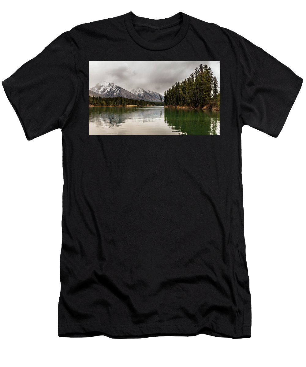 Johnson Lake Men's T-Shirt (Athletic Fit) featuring the photograph Banff, Alberta by Cory Huchkowski