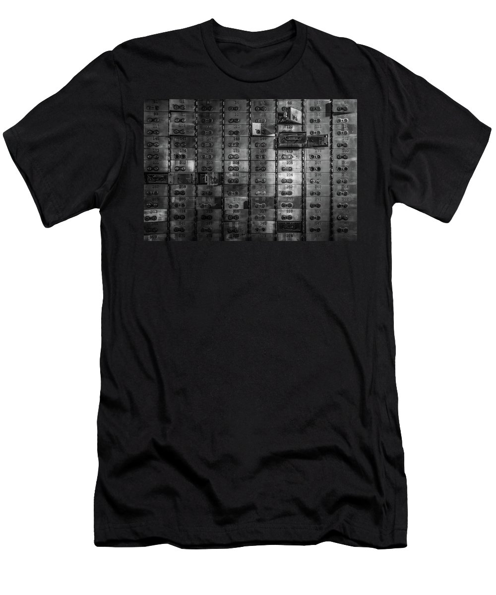 Chicago Men's T-Shirt (Athletic Fit) featuring the photograph Bank Vault Deposit Box by Mike Burgquist