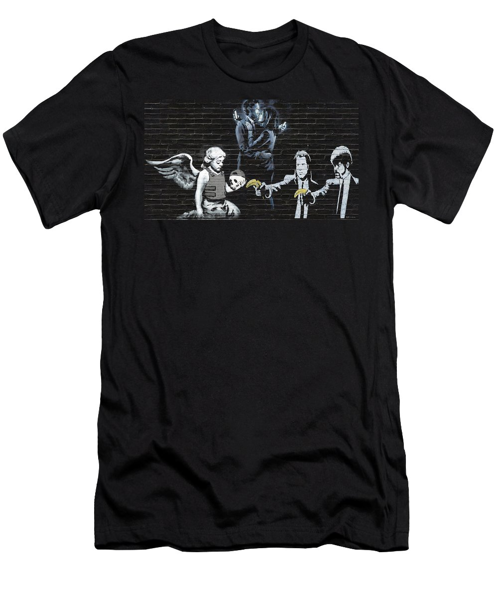 'urban Graffiti' By Serge Averbukh Men's T-Shirt (Athletic Fit) featuring the photograph Banksy - Failure To Communicate by Serge Averbukh