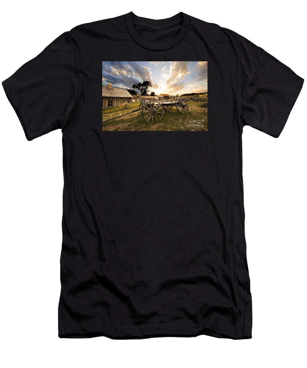 Wagon Men's T-Shirt (Athletic Fit) featuring the photograph Bannack Montana Ghost Town by Bob Christopher