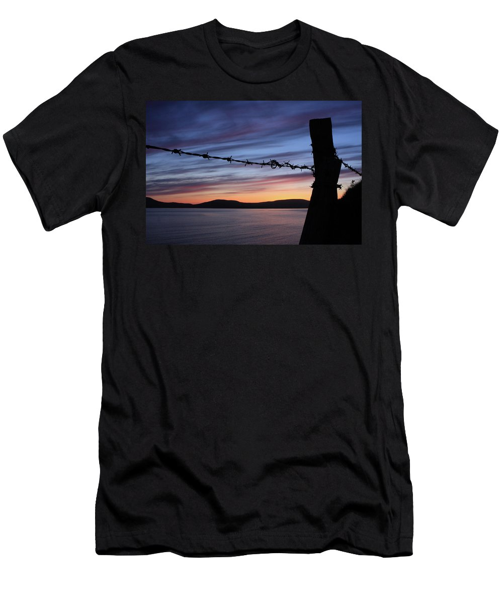 Ireland Men's T-Shirt (Athletic Fit) featuring the photograph Barbed Wire Sunset by Aidan Moran