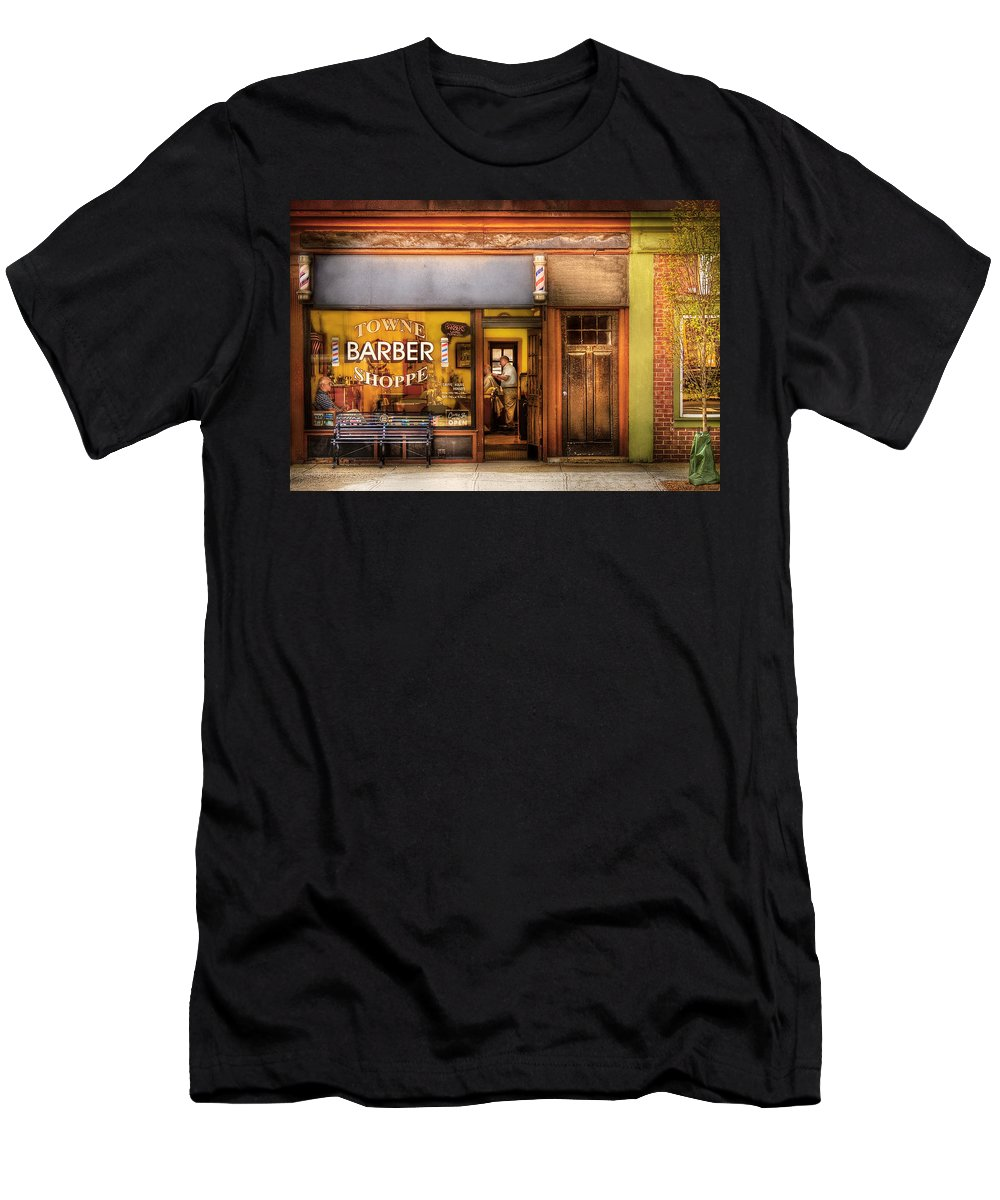 Hair Men's T-Shirt (Athletic Fit) featuring the photograph Barber - Towne Barber Shop by Mike Savad
