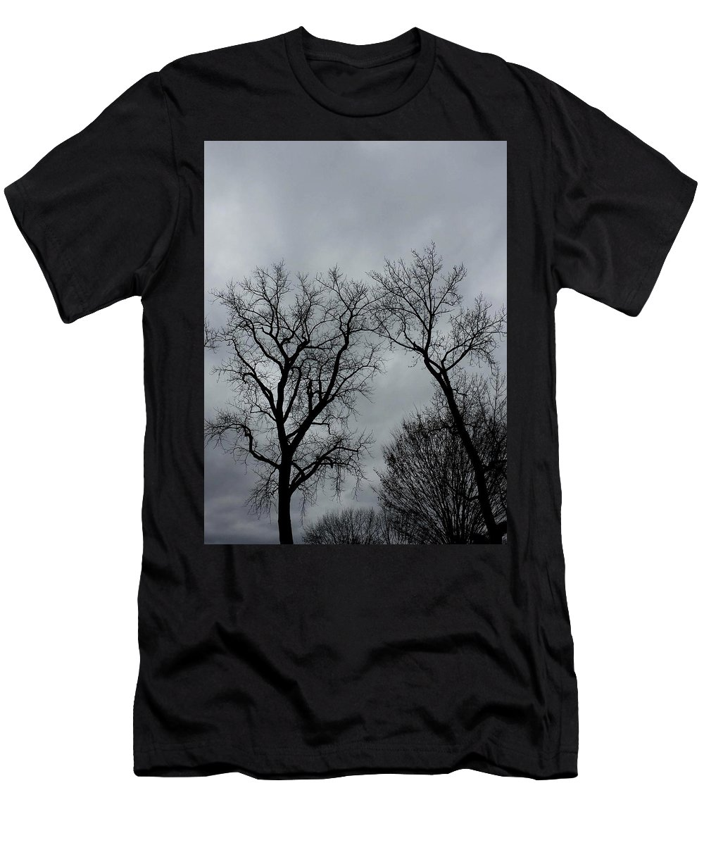 Bare Trees Men's T-Shirt (Athletic Fit) featuring the photograph Bare, Raw, Cold Winter Day by Neal Alicakos