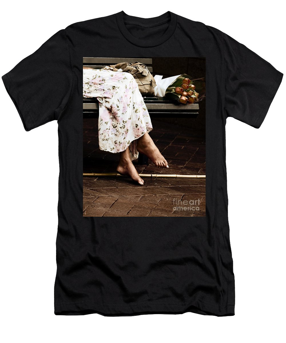 Barefeet Feet Barefoot Tulips Men's T-Shirt (Athletic Fit) featuring the photograph Barefoot And Tulips by Sheila Smart Fine Art Photography
