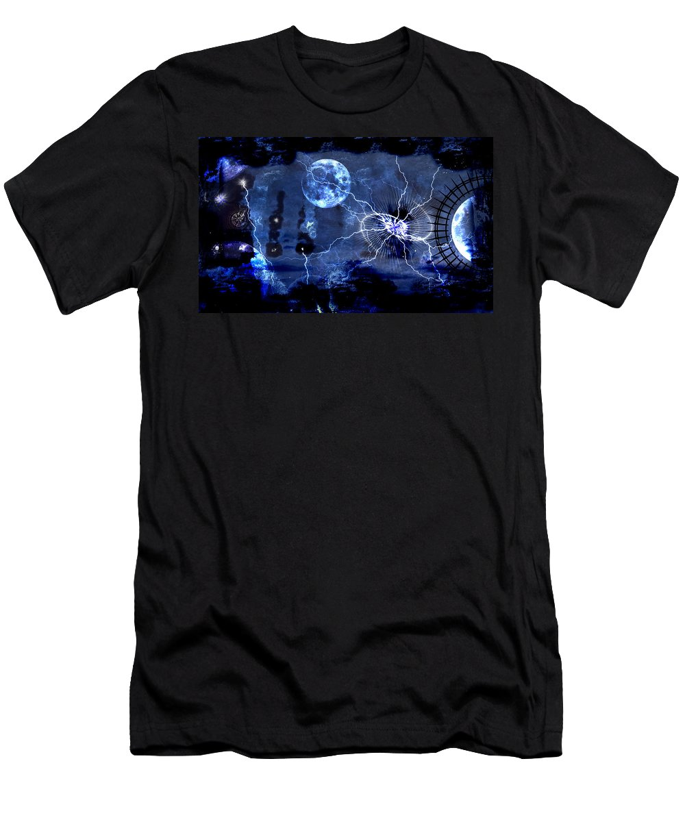 Bark Men's T-Shirt (Athletic Fit) featuring the digital art Bark At The Moon by Michael Damiani